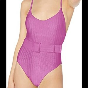 THE BIKINI LAB Fuchsia One Piece Swimsuit Belted